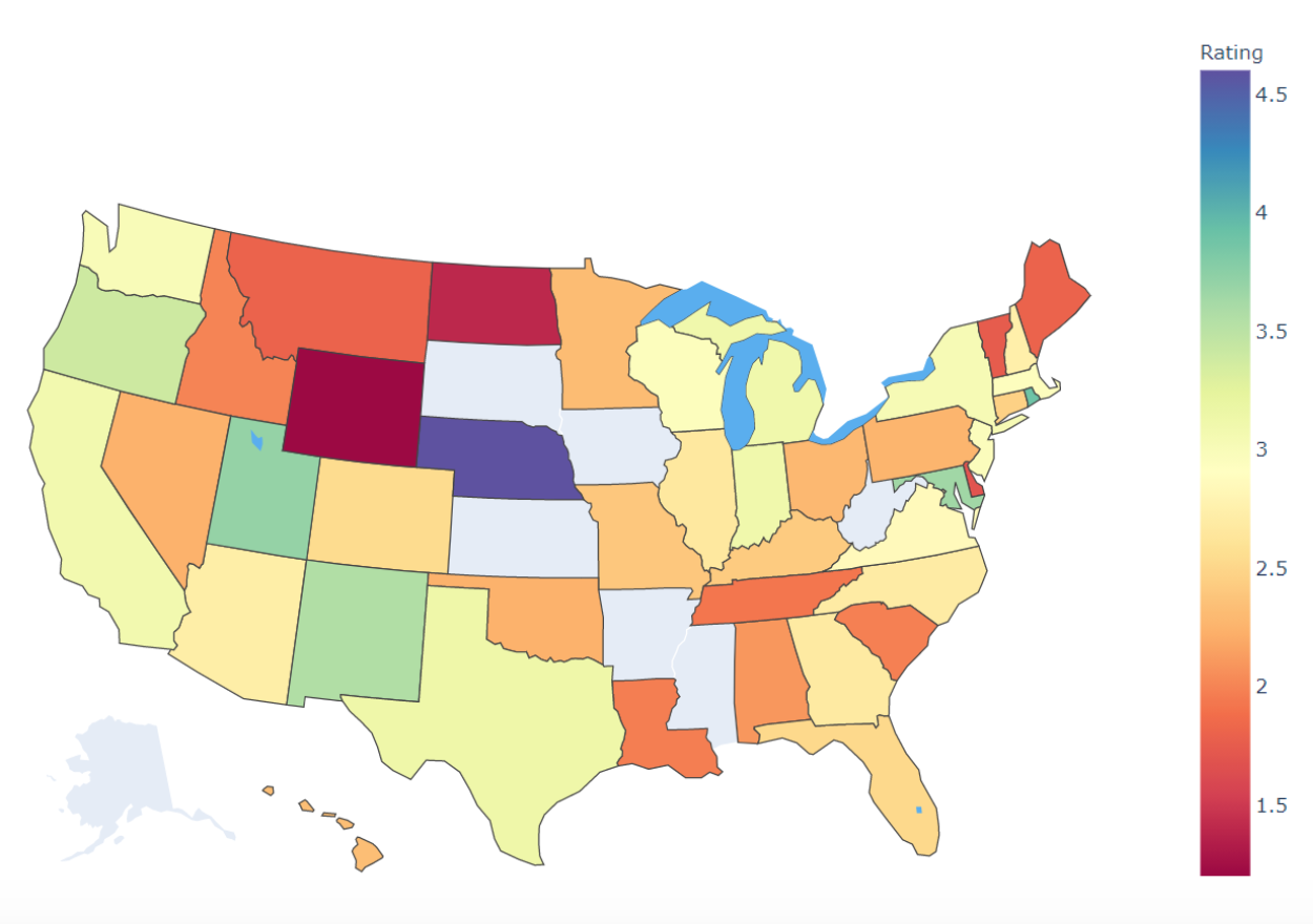 Heat Map of 2020 Merlin Ratings by State