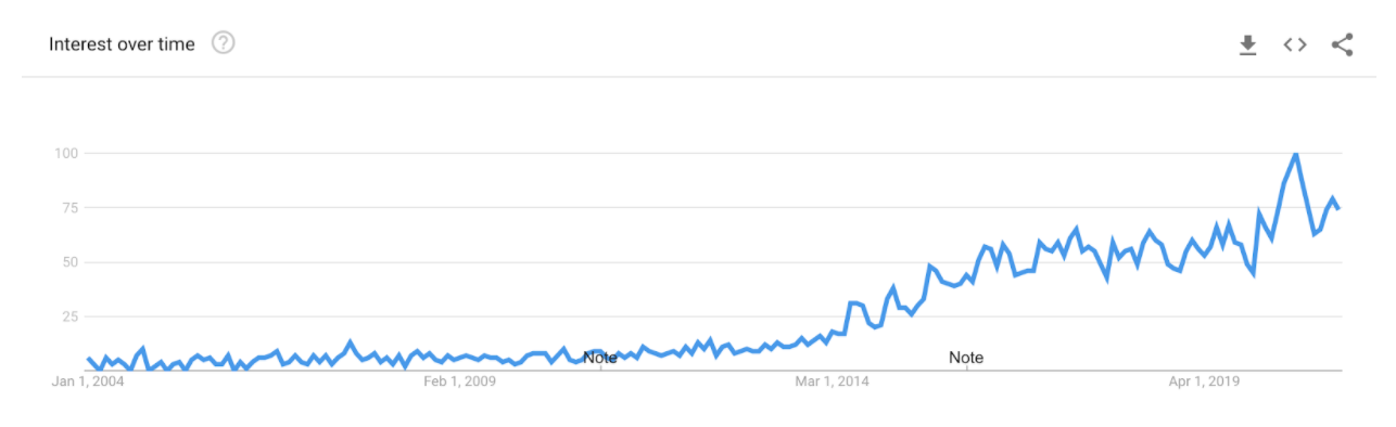 Google Trend Graph of Interest in Tiny Homes